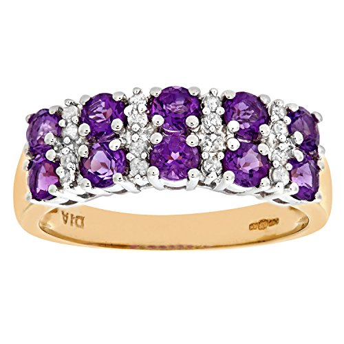 Naava Women's 9 ct Yellow Gold Diamond and Claw Set Amethyst Eternity Ring, Size S