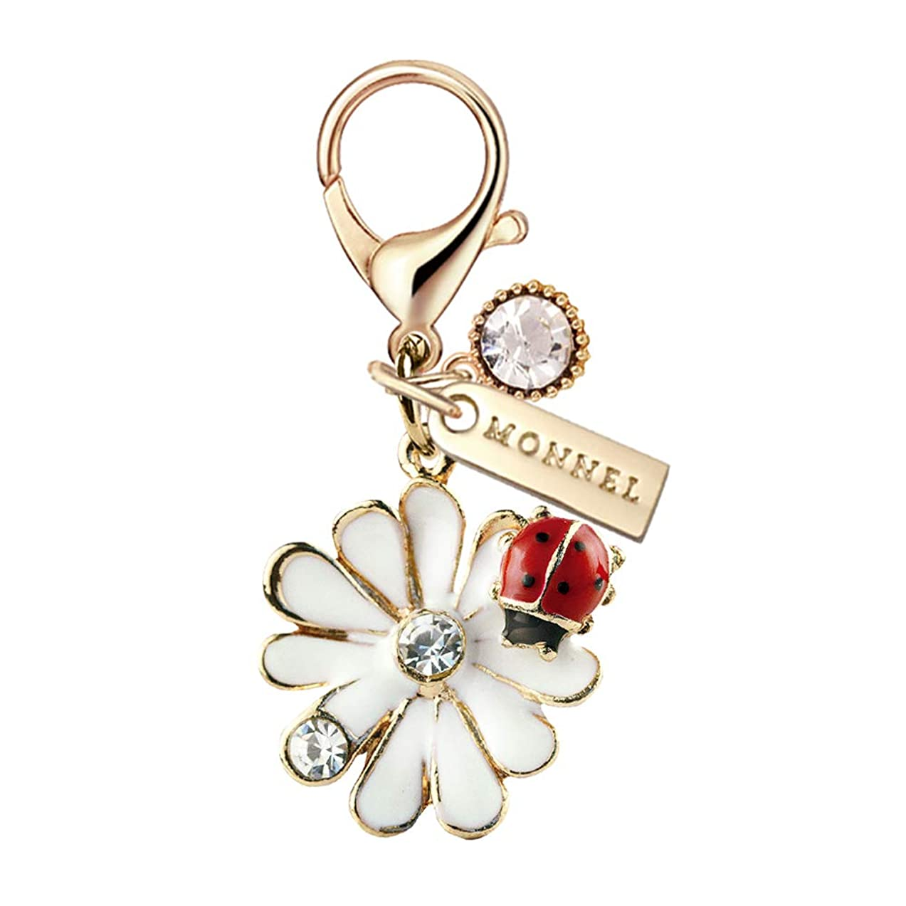 MC100 New Arrival Cute White Lily Flower Ladybug Lobster Clasp Charm Pendant with Pouch Bag (1 Piece)