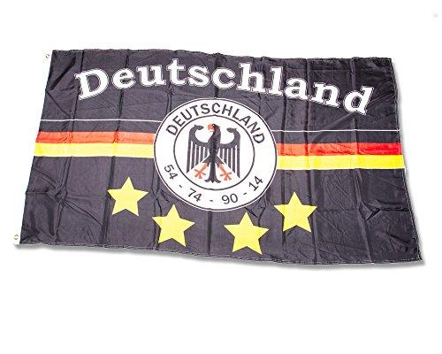 Fahne 150 x 250 cm - Deutschland 4 Sterne Schwarz - Flagge Hissflagge Hißfahne