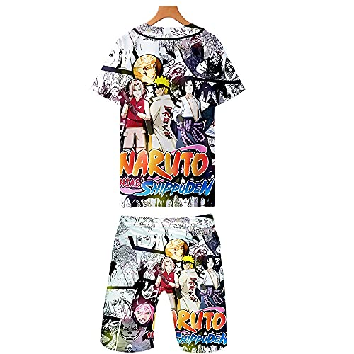 Ga-yinuo Herren Schlafanzug Pyjama Herren Strandshorts Männer 2-Teiliges Set Pyjama Damen Freizeitkleidung Trainingsanzug Kurzarm Shorts Anzug Anime Naruto,XS