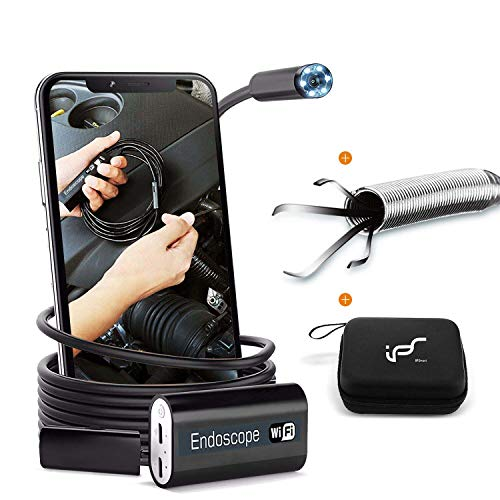 Endoscope WiFi, Wireless Endoscope Camera for Android 2.0MP Borescope Inspection Camera with Flexible Grabber 16.4ft(5M)