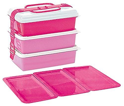 サンコープラスチック ピクニックランチボックス ファミリーパック 3段 取り皿3枚付き ピンク