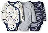 Moon and Back by Hanna Andersson Baby 3-Pack Organic Cotton Long Sleeve Side Snap Bodysuit, Navy, 0-3 months