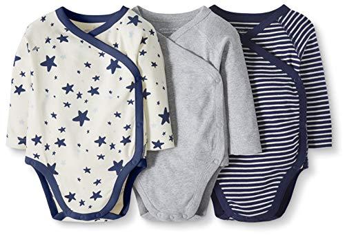 Moon and Back by Hanna Andersson Baby-Body mit langen Ärmeln und seitlichen Druckknöpfen aus Bio-Baumwolle, 3 Stück, navy, 6-12 Monate (67-72 CM)