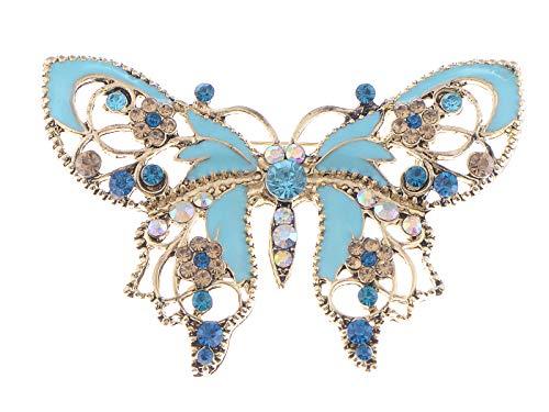 Alilang Damen Vintag Antiker Stil Grün Blau Blume Klar Strass Schmetterling Emaille Brosche