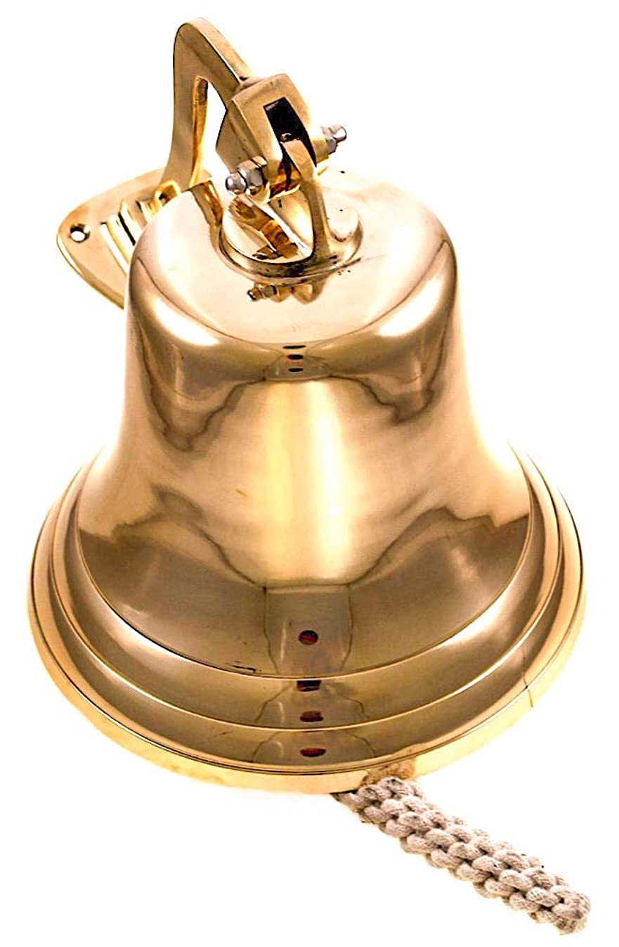 Wall Hanging Ship Bell with Rope Polished Dinner Bell Tip Bell Indoor/Outdoor Nautical Decoration Bells Variety with Mounting Hardware Bracket Ship Boat Maritime Decor (10