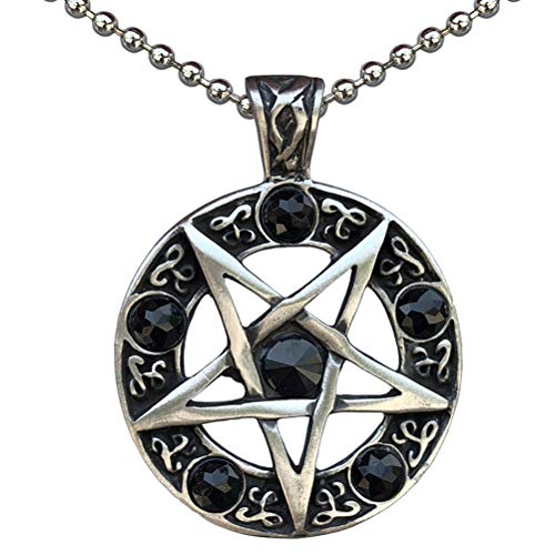 Celtic Pagan Wiccan Jewelry Inverted Pentagram Star Pentacle Black Crystal Men's Women's Pendant Necklace Protection Amulet Money Wealth Lucky Charm Safe Travel Wicca Magic Talisman Silver Ball Chain