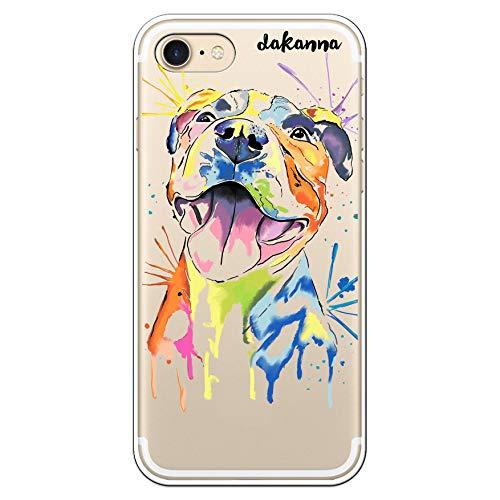 dakanna Custodia per iPhone 7 - iPhone 8 | Cane Pitbull Colori | Cover in Gel di Silicone TPU Morbido di Alta qualità con Sfondo Trasparente
