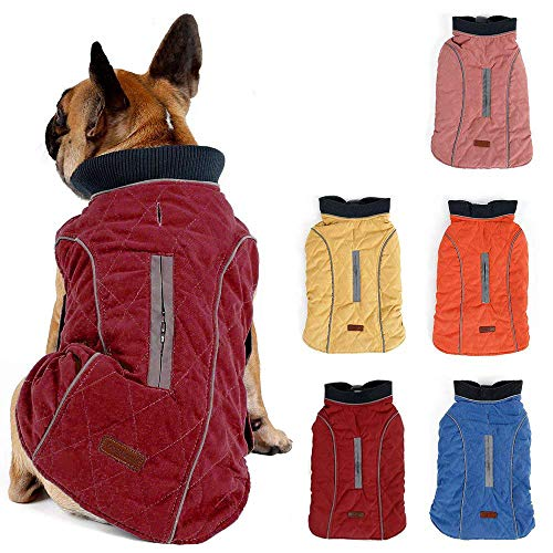 Pethiy Waterproof Windproof Reversible Dog Vest Winter Coat Warm Dog Apparel Cold Weather Dog Jacket Red XL