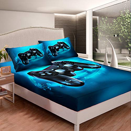 Gaming Bedding Set Kids Bed Sheet Set Twin Size Soft Microfiber Gamer Console Video Game Fitted Sheet Boys Teens Game Room Decor Bed Cover with 1 Pillow Case (Flat Sheet not Included)