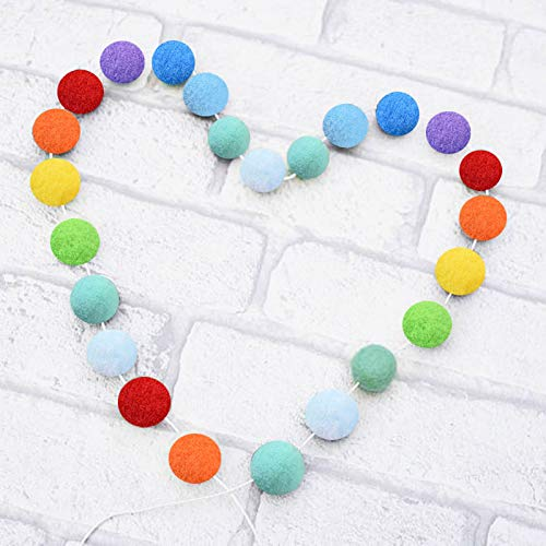 Stiesy 30pcs Rainbow Color Felt Ball Garlands Baby Shower Grand Pom Pom for Circus, Nursery Decor, Bunting, Birthday Party Decorations, Carnival, Photo Prop