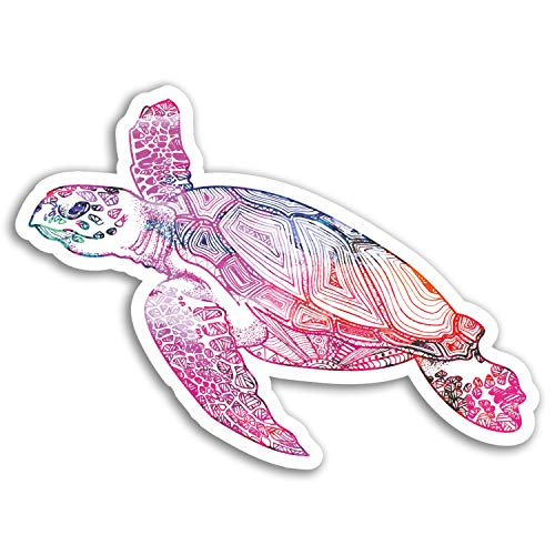 2 x 10cm Sea Turtle Vinyl Stickers - Tribal Surfer Sticker Laptop Luggage #17813 (10cm Wide)
