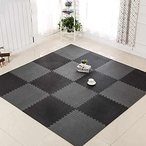 Azulejos de espuma entrelazados, rompecabezas de ejercicios con espuma EVA cuadrada entrelazada, suelo protector para salas de estar, salas de juegos, ejercicios de yoga, color negro y gris