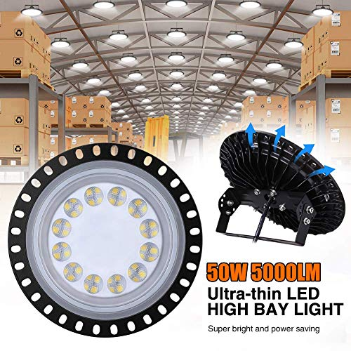UFO LED Iluminación, WZTO 5000LM 50W Techo de Cristal 6000K-6500K Impermeable IP65, Brillante Iluminación Comercial Bahía Luces Almacén led Lámpara de Techo de Cristal- Garantía de 2 años