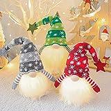 MQQ 16' Navidad Iluminado de Santa GNOME, Hecho a Mano Felpa Sueco escandinavo de Tomte, Presente Light Up Elf Juguete de Vacaciones, con Pilas de Invierno de Mesa Decoración de Navidad, 3 Set