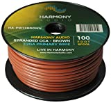 Harmony Audio HA-PW12BROWN Primary Single Conductor 12 Gauge Brown Power or Ground Wire Roll 100 Feet Cable for Car Audio/Trailer/Model Train/Remote