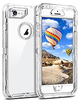 Coolden Clear Case for iPhone 8 iPhone 7 SE 2020 Hybrid Protective Dual Layer Shockproof Case with Hard PC Bumper Soft TPU Back for 4.7 Inches iPhone 6 6S 7 8 SE 2nd Transparent