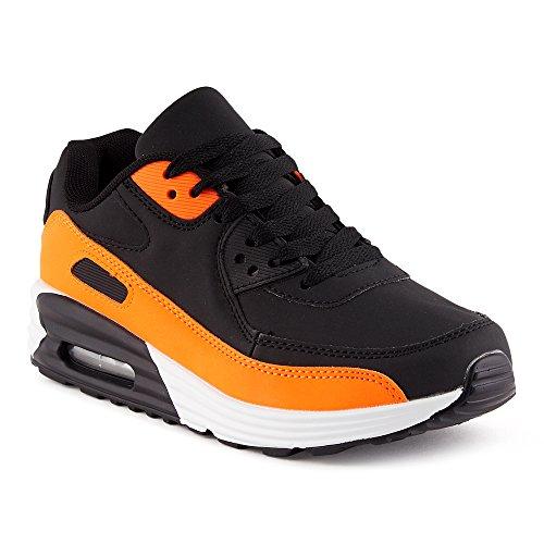 FiveSix Herren Damen Sportschuhe Dämpfung Sneaker Laufschuhe Schwarz/Orange-W EU 36