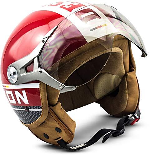 "SOXON® SP-325 Plus ""Red"" · Jet-Helm · Motorrad-Helm Roller-Helm Scooter-Helm Moped Mofa-Helm Chopper Retro Vespa Vintage Pilot Biker Helmet · ECE 22.05 Visier Schnellverschluss Tasche L (59-60cm)"