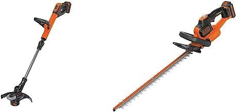 BLACK+DECKER 18V Cordless 28 cm String Grass Trimmer 2.0Ah Lithium Ion Battery & 18V Cordless 45 cm Hedge Trimmer with 2.0...
