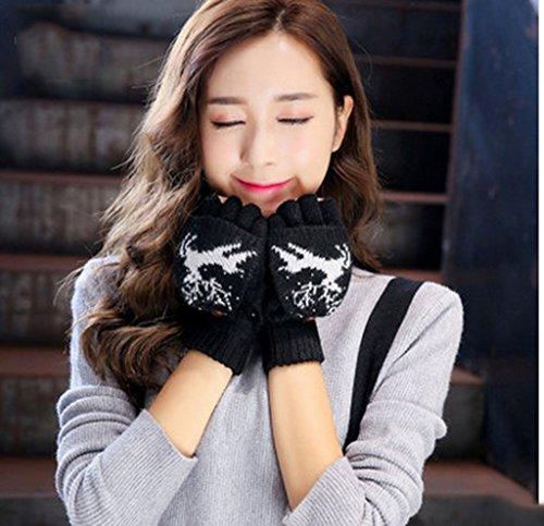 Gloves-zx Guanti Femminile Autunno e Inverno all'aperto WinterAutumn Tenere Ispessimento Caldo Clamshell Lu Zhi Guanti (Colore : A)