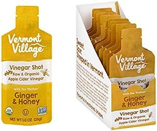 Vermont Village Organic Apple Cider Vinegar Shot - Ginger & Honey (Pack of 12 - 1 Fl Oz Shots)