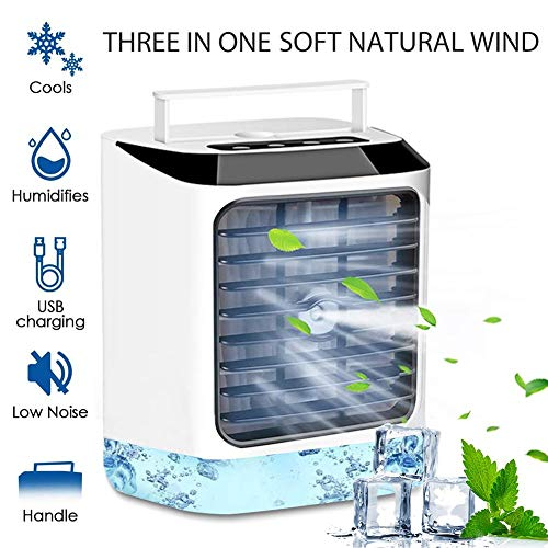 Portable Air Conditioner, Mini USB Space Cooler Quiet Table Fan - Evaporative Circulator Air Humidifier, 3 Wind Speed Desktop Air Conditioner Fan, Best for Home/Office