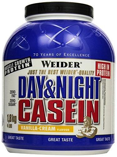 Weider Day & Night Casein Protein, Vanille-Sahne, 1er Pack (1 x 1,8 kg)