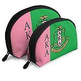 SYIFASYA Alpha Kappa Alpha 2 Pcs Cosmetic Bags Travel Makeup Bag Portable Clutch Pouch Set Women Handbag with Zipper Shell Toiletry Storage