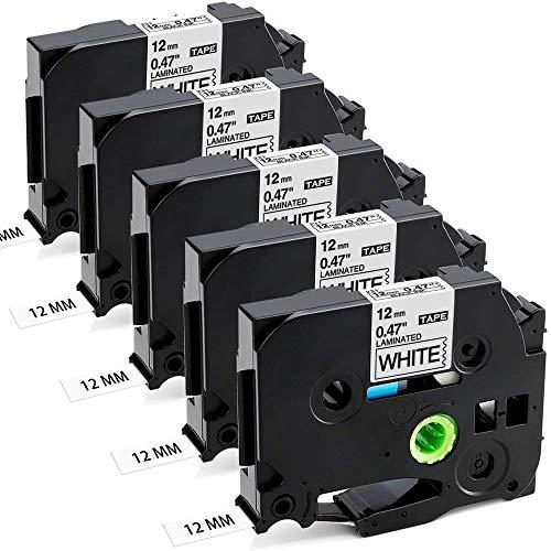 Aken kompatibel Schriftband als Ersatz für Brother P-touch TZe 12mm 0.47 TZe-231 TZe231 TZ-231 TZ231 Band, für Beschriftungsgerät Ptouch 1010 H105 1000 1005 1280 D400 D600 Cube, schwarz auf weiß x 5