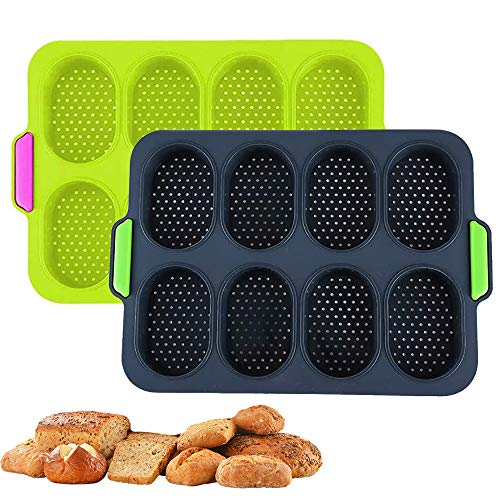 2PCS Silicone Mini Baguette Baking Tray NonStick Perforated Pan Loaf Baking Mould Bread Crisping Tray French Bread Breadstick Rolls Hamburger Molds Muffin Pan Baking Tools 2 PackDark Gray Green