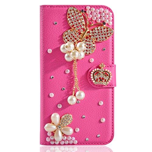 LG V60 ThinQ 5G Hülle,Gift_Source [Roter Schmetterling] Handytasche Bling Glitzer Diamant Strass Handyhülle PU Leder Brieftasche Schutzhülle mit Kartenfach & Standfunktion für LG V60 ThinQ 5G (6.8