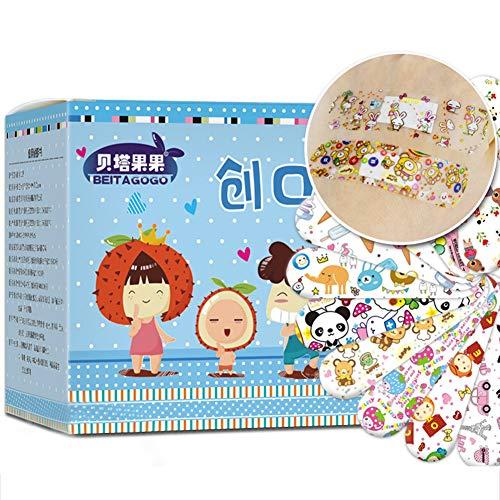 URFEDA 120 Stück Cartoon-Bandagen Kinderpflaster, selbstklebend, wasserdicht, Wundpflaster, Erste-Hilfe-Aufkleber, atmungsaktive Pflaster für Kinder, blau/rosa