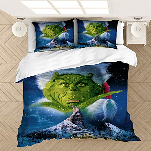 NICHIYO How The Grinch Stole Christmas Bedding Set - Duvet Cover and Two Pillow Cases Microfibre 3D Digital Print Three-Piece Set, 07, 135 x 200cm