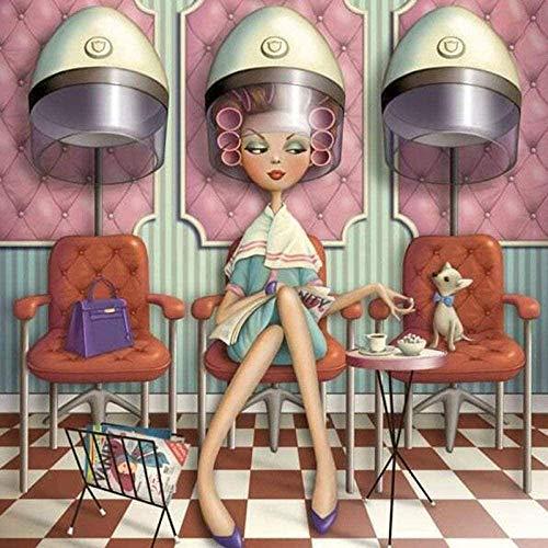 Haoo Kit de pintura de diamante 5D de dibujos animados de diamantes de imitación de la pintura de la peluquería de las señoras interruptor de punto de cruz