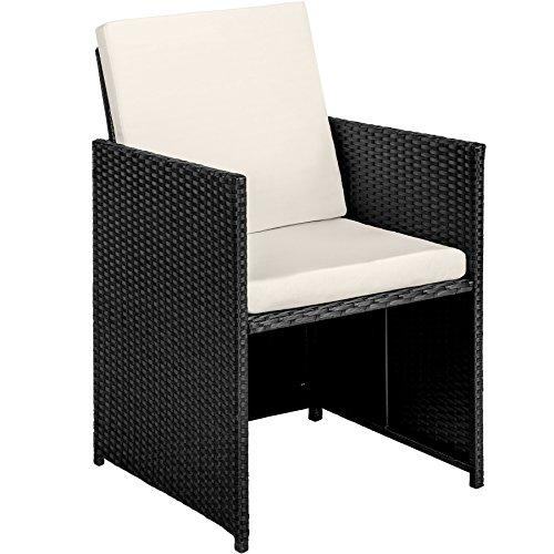 TecTake Poly Rattan 8+4+1 Sitzgruppe | 8 Stühle 4 Hocker 1 Tisch | inkl. Schutzhülle & Edelstahlschrauben | - Diverse Farben - (Schwarz | Nr. 402831) - 3