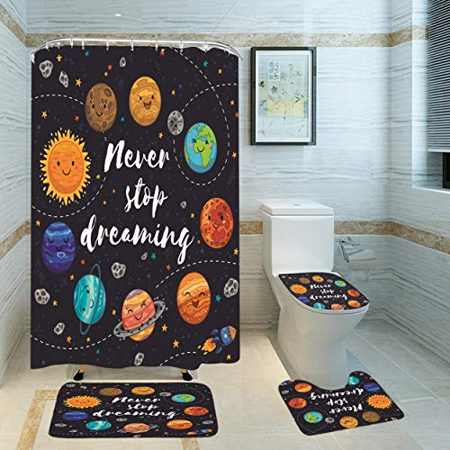 Yuaobeimei Solar System Planet Inspirational Quoted Shower Curtain Space Galaxy 4 PCS Bathroom 3D Curtains Set Bath Curtain Fabric Decoration Never Stop Dreaming for Bathroom Waterproof with Bath Mat