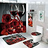 7 Piece Valentines Shower Curtain Sets with Rugs and Towels, Include Non-Slip Rugs, Toilet Lid Cover, Bath Towel and Mat, Romantic Red Rose Shower Curtain with 12 Hooks for Bathroom Decoration