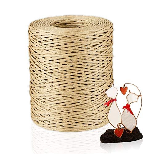 Qhui 150M Papierdraht Natur, Papierkordel Rebendraht Dekodraht Eisendraht zum Basteln, Bastelschnur für Weihnachten DIY Hochzeitsstrauß Verpackung Blumengesteck Werkzeuge