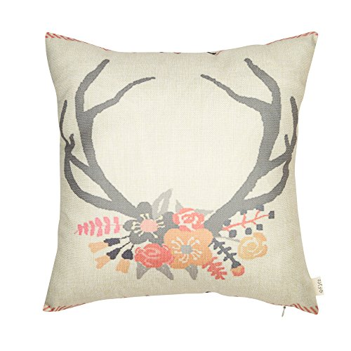 """Fjfz Cotton Linen Home Decorative Throw Pillow Case Cushion Cover for Sofa Couch Tribal Girl Nursery Deer Head Antler Flower, Pink and Grey, 18"""" x 18"""""""