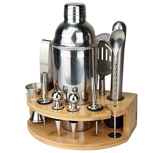 GUIFIER Barkeeper-Set mit Ständer | Bar-Set Cocktail-Shaker Set zum Mixen von Getränken – Bar-Werkzeuge: Martini-Shaker, Messbecher, Sieb, Bar-Mixer, Löffel, Zange, Flaschenöffner