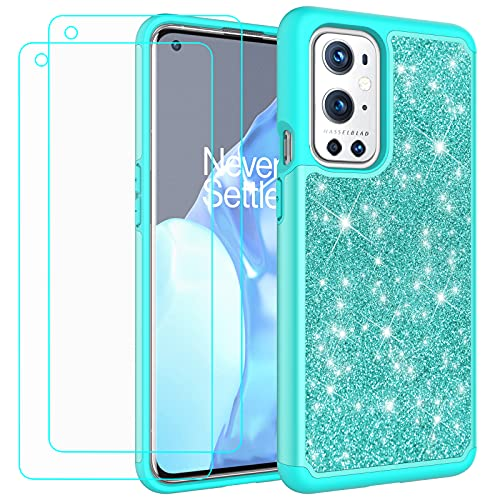 Glitter Case for OnePlus 9 Pro | 6.7 Inch | Cute Sparkle Protective Cell Phone Basic Case for Girls Women | TPU+PC Anti-Shock Anti-Scratch Covers 2021 (Light Mint Green)