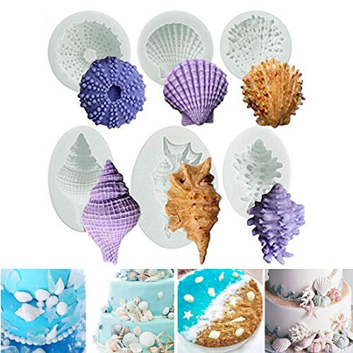 Ocean Animals Cake Silicone Fondant Mould 3D Starfish Sea Shell Conch Cake Decorating Chocolate Candy Soap Baking Mold Kitchen Sugarcraft DIY Style of 6