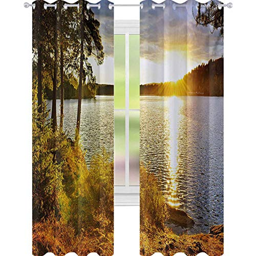 """YUAZHOQI Landscape Blackout Curtains Sunset Dawn in The Forest Over Lake of Two Rivers Algonquin Park Ontario Canada 52"""" x 108"""" Curtains for French Doors Multicolor"""