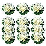 Tashido 12 unidades de espuma de flor de loto con adornos de nenúfares, para Patio Koi estanco, piscina, acuario, jardín, hogar, fiesta de boda