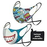 ENERGY FUSION 𝐌𝐚𝐬𝐜𝐚𝐫𝐢𝐥𝐥𝐚𝐬 para niño Vuelta al Cole, con cinta elástica para llevar en el cuello, evita que se extravie, se manche y se mezcle, con Portamascarilla (SHARK2) (SHARK)