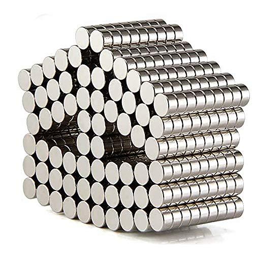 DIYMAG 200PCS Refrigerator Magnets Premium Brushed Nickel Fridge, Office Magnets, Silver, 6X3 mm
