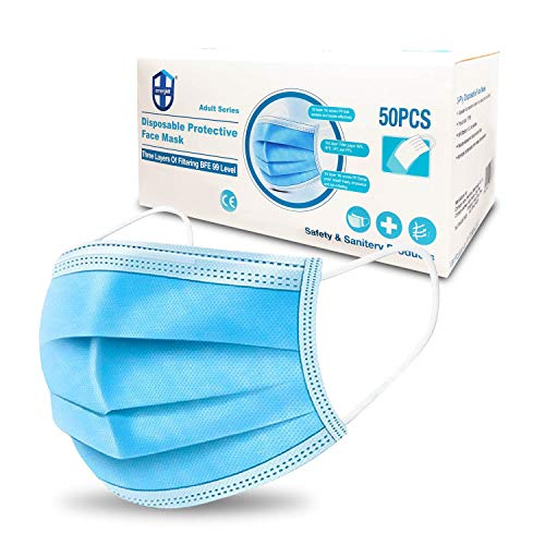 EmergKit Premium 50-Pack 3-Ply Disposable Protective Masks - 3 Layer Design w/ adjustable Nose Bridge For A Full Seal - Premium Ultra Comfortable Elastic Ear Loops
