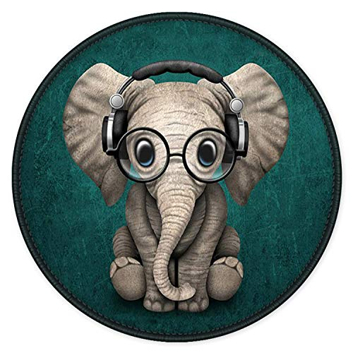 Mouse Pad with Design ITNRSIIET Small Custom Mouse Mat for Women and Girls Enhanced Thickness Dual Stitched Edges Ultra Soft Cute Round Mousepad for Computer Office Gaming Laptop Mac Elephant