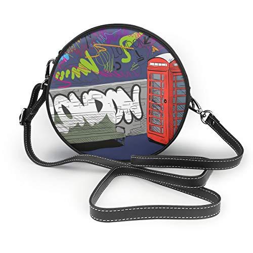 Sacs à bandoulière femmes sacs ronds main dessin cabine téléphonique anglaise rouge, Illustration vectorielle Bandoulière en cuir Sac de cercle